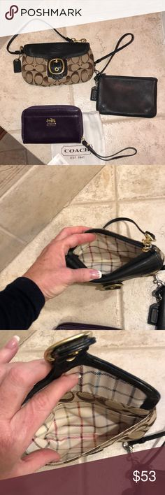 Coach wristlets 2 lightly used aubergine new 3 beautiful coach wristlets black leather, a monogram, and a dark purple patent new Coach Bags Clutches & Wristlets