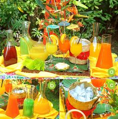 Cool, refreshing drinks station for a tropical-themed reception