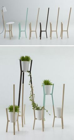 Diseño de Interiores Green   Sistema modular de madera para macetas • 'Roots' de Mut Design.