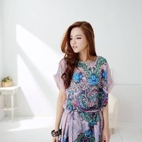 graphic design shirt dress in chiffon