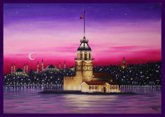 yağlıboya istanbul kız kulesi .. In Loving Memory, Mosque, Paper Cutting, Istanbul, Stained Glass, Building, Artwork, Travel, Beautiful