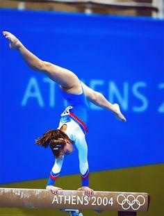 Anna Pavlova gymnast on balance beam women's gymnastics Olympics Athens 2004  #KyFun