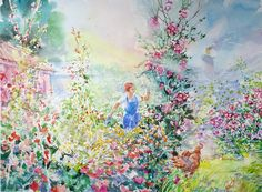 'Amongst the Flowers and Vegetables' watercolour by Paul Riley.