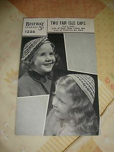 ORIGINAL WAR YEARS VINTAGE BESTWAY 1234 CHILDRENS 2 FAIR ISLE HATS/ CAPS/ TAMS