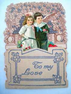 Sweet Vintage Embossed Pop-Out Valentine Card w/ Adorable Girl & Boy picclick.com