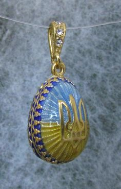 Tryzub Egg Pendant, Blue + Yellow Enamel, Ukrainian, Swarov. Crystals St.Silver