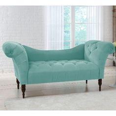 6006ESPVLVCRB Skyline Furniture Blue Velvet Chaise Lounge