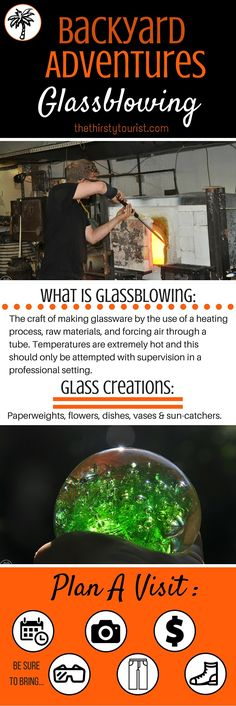 The Thirsty Tourist's Backyard Adventure Crib Sheet for Glassblowing. TheThirstyTourist.com