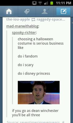 i'm actually going as Dean next Halloween, and my friend says she is either being Sam or Cas. But Dean is a Disney princess