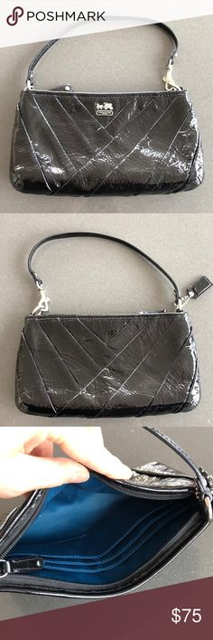 """Coach cocktail bag Shiny patent-leather Coach bag. Used but in good condition. Beautiful teal satiny inside with a place for credit cards. Strap detaches at one side to become a wristlet. 9"""" x 5"""" with a detachable strap with a 6"""" drop. Coach Bags"""