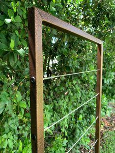 Metal Garden Trellis, Wall Trellis, Garden Gates, Privacy Trellis, Wooden Trellis, Garden Yard Ideas, Garden Projects, Climbing Vines, Stainless Steel Wire