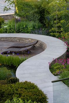 New Sunken Garden Seating Area Retaining Walls 55 Ideas Sunken Garden, Garden Pool, Shade Garden, Modern Garden Design, Contemporary Landscape, Landscape Design, Landscape Architecture, Architecture Design, Concrete Path
