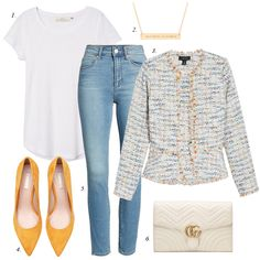tweed jacket, casual outfit, how to wear jacket, how to style, jeans, spring trends 2018, women casual fashion, chanel jacket, spring fashion