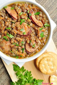 Slow Cooker German Lentil Soup with Sausage | Five Heart Home# slow cooker healthy recipes