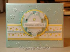 STAMPS: Made With Love. CARDSTOCK: Soft Sky, So Saffron, Whisper White. INK: Soft Sky, Daffodil Delight, Smoky Slate. OTHER: Big Shot, Lucky Stars EF, Confetti Stars Border punch, Soft Sky ribbon, Blender Pens.