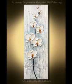 Painting on canvas Orchid Original extra heavy texture palette knife by P. Nizamas ready to ship