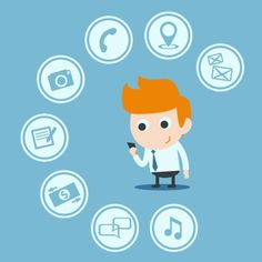cartoon guy with mobile phone icons