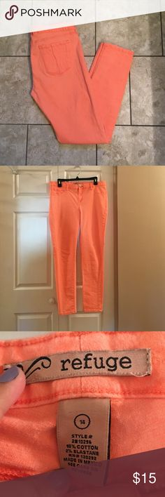 Peach Colored Jeans Gently used peach colored skinny jeans. Color slightly faded but still have great color. Size 14. refuge Pants Straight Leg