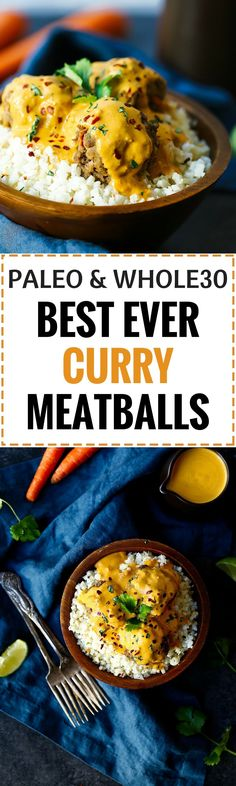 Gluten free, paleo friendly, whole30 curry meatballs! Easy whole30 meatballs recipe. Low carb meatballs for your Whole30. Whole 30 meatballs recipe. Healthy curry meatballs recipe.