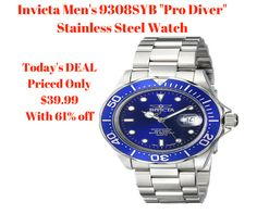 """Todays Deals : Invicta Men's 9308SYB """"Pro Diver"""" Stainless Steel Watch  #deals #gifts #fathersday"""
