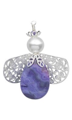 Angel Ornament with Crazy Lace Agate Gemstone Beads, Swarovski Crystal Pearls and Silver-Plated Filigree Bead Caps and Drops by Rose Wingenbach. #angelornament