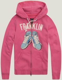 Women's hooded sweatshirt with writing across the chest. winter pink | Fleece | Woman | Sales | Franklin