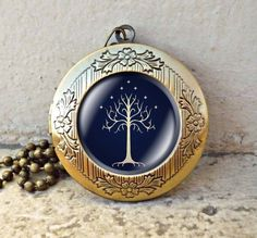 """Lord of the Rings Necklace """"The white Tree"""", White Tree of Gondor, Movies Jewelry, Vintage Jewelry,vintage pendant locket necklace"""