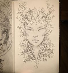 Posted by howardlyonart : Quick Dryad sketch tonight while waiting for an…