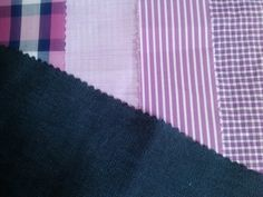 We adore these color combos. Pink and purple Spring shirting with Linen suiting. Meow-zah...