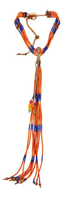 Africa | Necklace from the Masai people | Glass beads and natural fiber | Sold