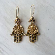 Hamsa Hand Earring Fatima Hand Earring by santorinijewellery