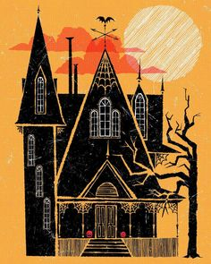 Creepy Houses, Spooky House, Halloween Haunted Houses, Halloween House, Halloween Stuff, Halloween Cards, Halloween Ideas, Happy Halloween, Halloween Prints