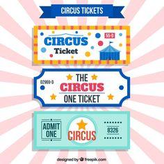 nice retro circus tickets Free Vector