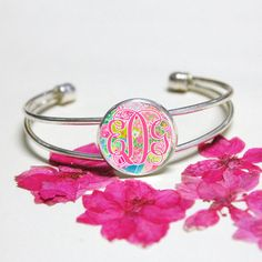 Pink Monogram silver braceletLilly Pulitzer monogram by Artworkfly