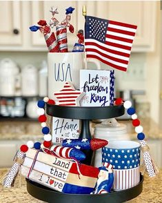 Use these tiered tray décor ideas for of July to ace up the festive spirit in your house. Discover a galore full of tiered tray patriotic décor tips and hacks now. Farm Kitchen Ideas, Kitchen Decor Sets, Pig Kitchen, Country Kitchen, Fourth Of July Decor, 4th Of July Decorations, 4th Of July Party, July 4th, Tips And Tricks