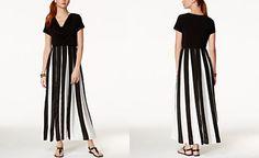 NY Collection Draped Pleated Maxi Dress