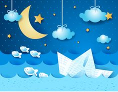 Buy Paper Boat at Night by LuisaVenturoli on GraphicRiver. Paper boat, at night. Fantasy illustration, vector TRansparency blending effects Boat Cartoon, Cute Cartoon, Art For Kids, Crafts For Kids, Baby Blue Background, Arte Quilling, Cloud Vector, Boat Vector, Cubist Art