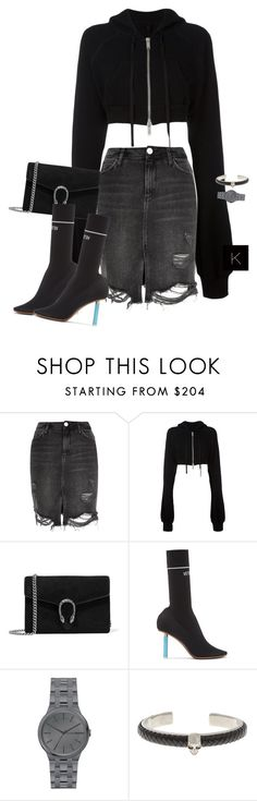 """""""Untitled #3941"""" by kimberlythestylist ❤ liked on Polyvore featuring Unravel, Gucci, Vetements, DKNY and Alexander McQueen"""