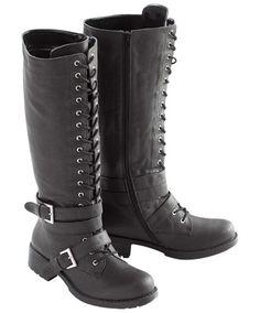 Women's Footwear | Double Buckle Lace Up Biker Boot | Womens Clothing at Joe Browns