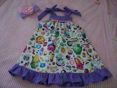 BABY GIRL DRESS cute shopkins print summer picnic dress size 12mos. #Handmade