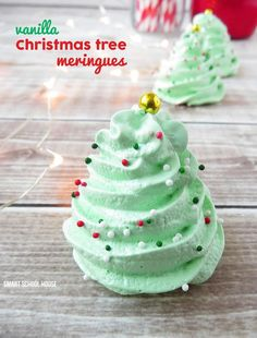 Vanilla Christmas Tree Meringues! These are so easy and they practically melt in your mouth.