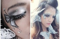 glitter and ice butterfly fairy makeup (diy butterfly makeup) Fairy Fantasy Makeup, Fairy Eye Makeup, Fairy Halloween Makeup, Halloween Costumes, Halloween 2014, Halloween Decorations, Exotic Makeup, Beautiful Eye Makeup, Dramatic Makeup