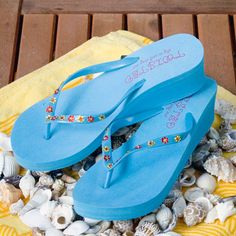 Flip-flops, turquoise. Swarovski Flat Back rhinestones, Hyacinth Orange and Light Topaz