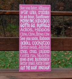 See You Later Alligator Goodbye Wooden Typography Subway Art Sign nursery playroom. $60.00, via Etsy.