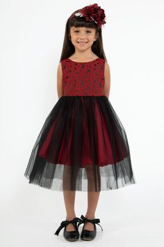 3001116984 Girls Red Floral Jacquard Dress w. Black Tulle Skirt 2T-12   Plus 14x