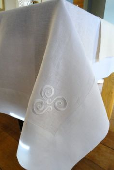 New Irish linen tablecloth from Agnes H Design, genuinely made in Ireland. http://www.agneshdesign.com