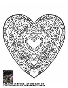 Heart Hearts Coloring Pages Colouring Adult Detailed Advanced Printable Kleuren Voor Volwassenen Coloriage Pour Adulte Anti