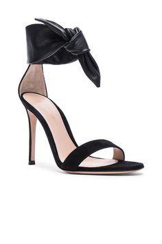 Image 2 of Gianvito Rossi Suede & Leather Bandana Heels in Black