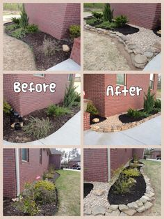 Landscape, black mulch and rock. Back breaking but worth it