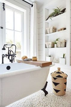 Rustic modern farmhouse bathroom in small cottage by Trinette Reed for Stocksy U. - Rustic modern farmhouse bathroom in small cottage by Trinette Reed for Stocksy United - Fixer Upper, Modern Farmhouse Bathroom, Modern Farmhouse Interiors, Modern Farmhouse Style, Ideas Hogar, Farmhouse Homes, Rustic Farmhouse, Farmhouse Small, Cottage Farmhouse